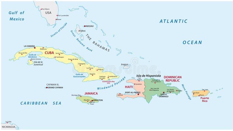 Πολιτικός και διοικητικός χάρτης των μεγαλύτερων Αντιλλών διανυσματική απεικόνιση