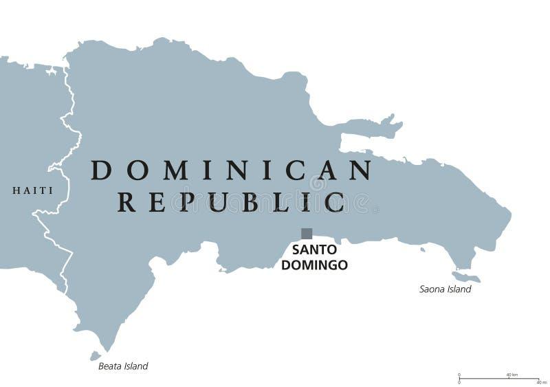 Πολιτικός χάρτης Δομινικανής Δημοκρατίας διανυσματική απεικόνιση