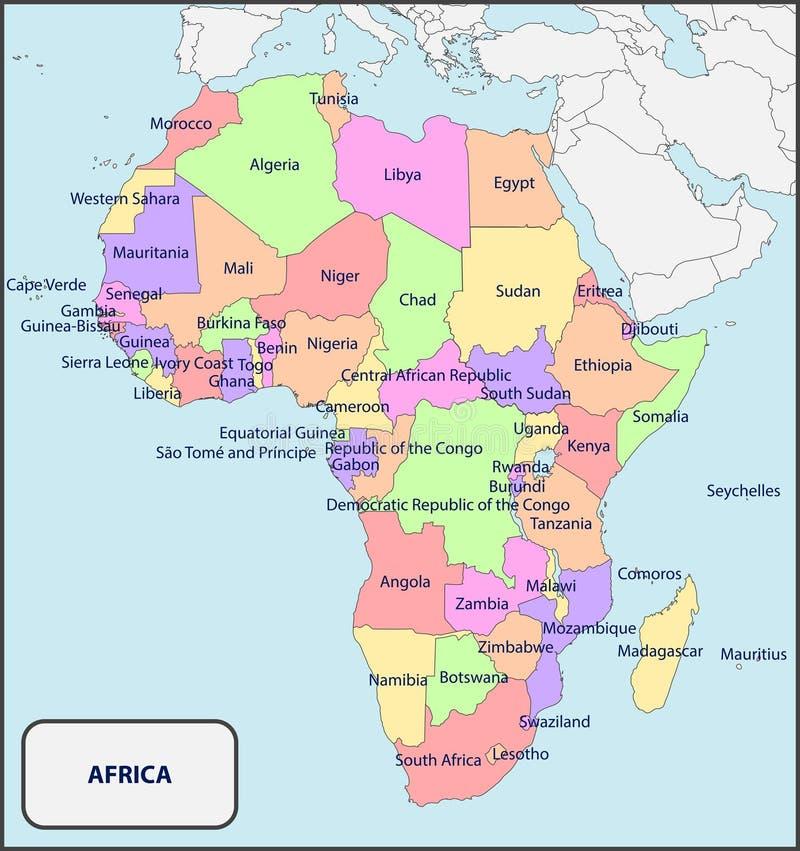 Πολιτικός χάρτης της Αφρικής με τα ονόματα στοκ φωτογραφία με δικαίωμα ελεύθερης χρήσης