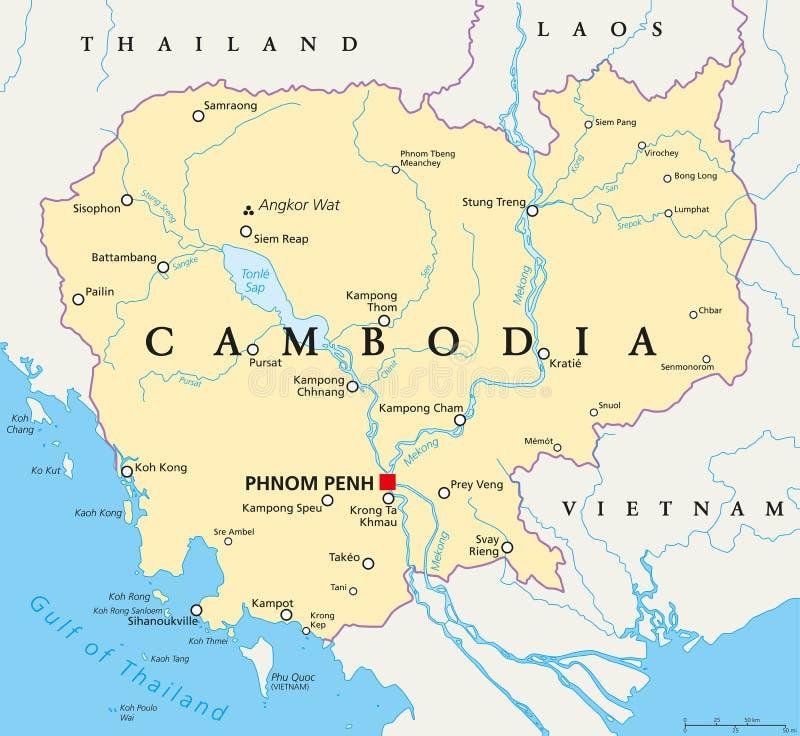 Πολιτικός χάρτης της Καμπότζης διανυσματική απεικόνιση