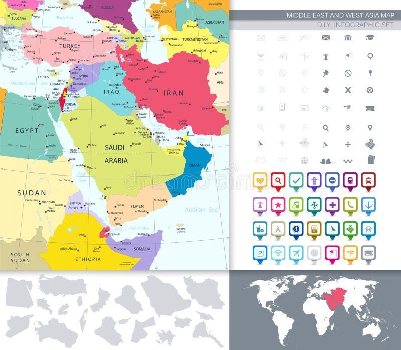 Πολιτικός χάρτης της Μέσης Ανατολής και της Ασίας με ένα τετραγωνικό επίπεδο σύνολο εικονιδίων διανυσματική απεικόνιση