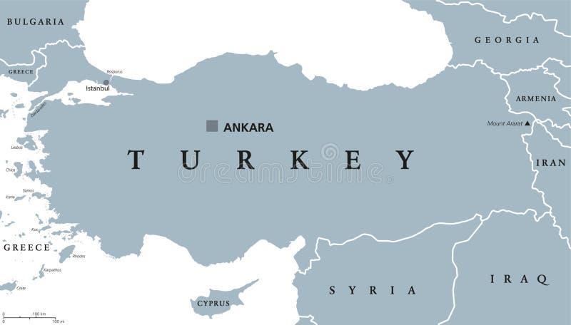 Πολιτικός χάρτης της Τουρκίας ελεύθερη απεικόνιση δικαιώματος