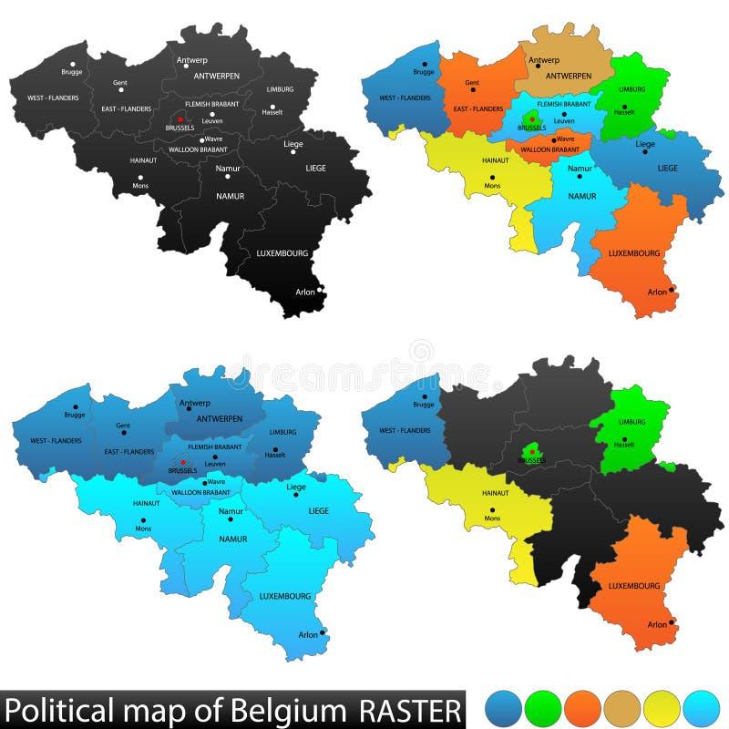 Πολιτικός χάρτης του Βελγίου διανυσματική απεικόνιση
