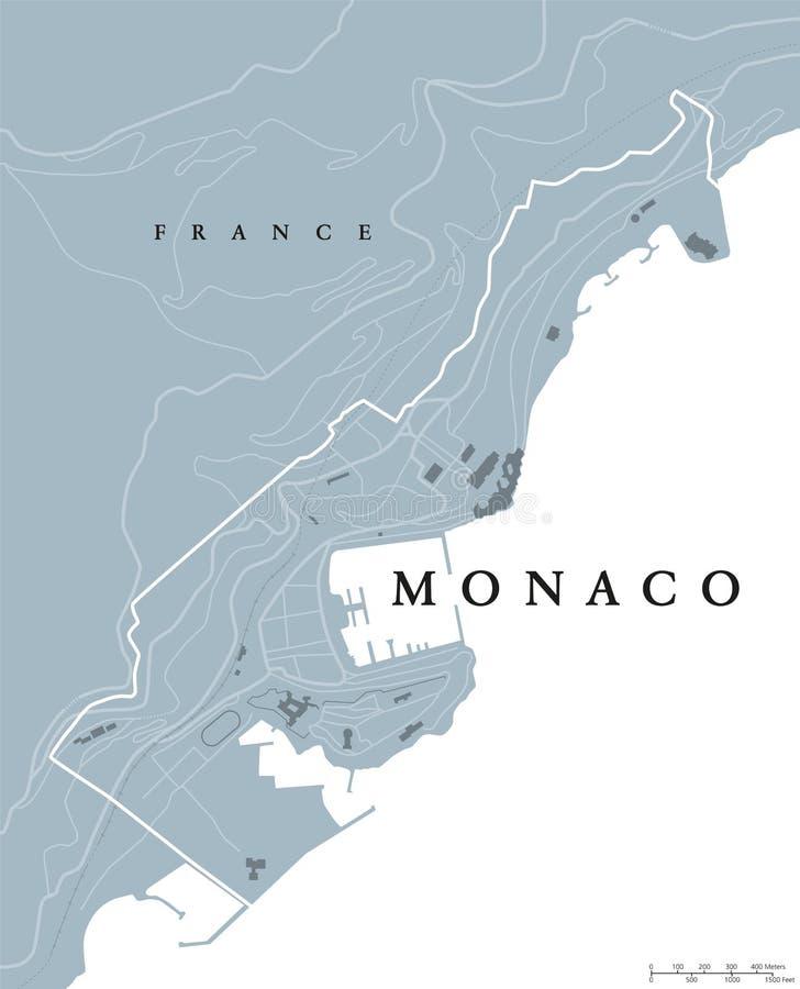 Πολιτικός χάρτης του Μονακό διανυσματική απεικόνιση