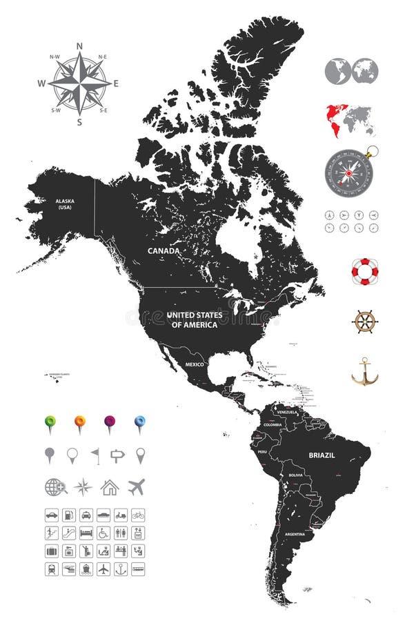 Πολιτικός χάρτης του νότου και της Βόρειας Αμερικής διανυσματική απεικόνιση