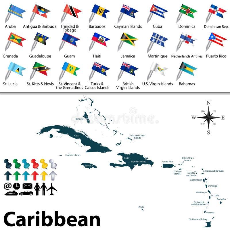 Πολιτικός χάρτης των Καραϊβικών Θαλασσών διανυσματική απεικόνιση