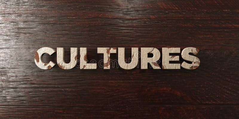 Πολιτισμοί - βρώμικος ξύλινος τίτλος στο σφένδαμνο - τρισδιάστατο δικαίωμα ελεύθερη εικόνα αποθεμάτων ελεύθερη απεικόνιση δικαιώματος