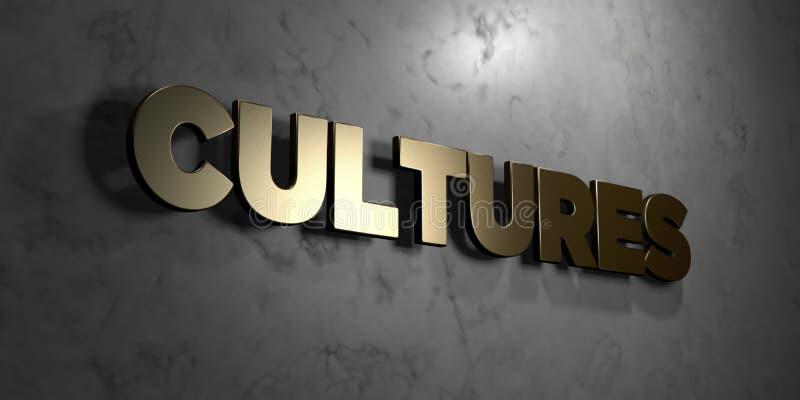 Πολιτισμοί - χρυσό σημάδι που τοποθετείται στο στιλπνό μαρμάρινο τοίχο - τρισδιάστατο δικαίωμα ελεύθερη απεικόνιση αποθεμάτων ελεύθερη απεικόνιση δικαιώματος
