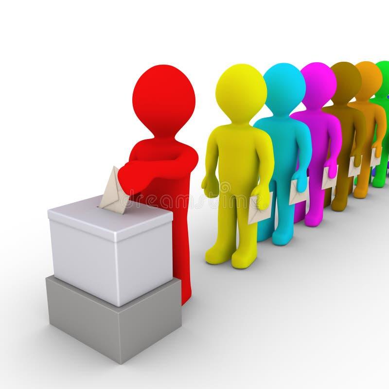 Πολλοί άνθρωποι στη γραμμή αναλαμβάνουν εκ περιτροπής στην ψηφοφορία απεικόνιση αποθεμάτων