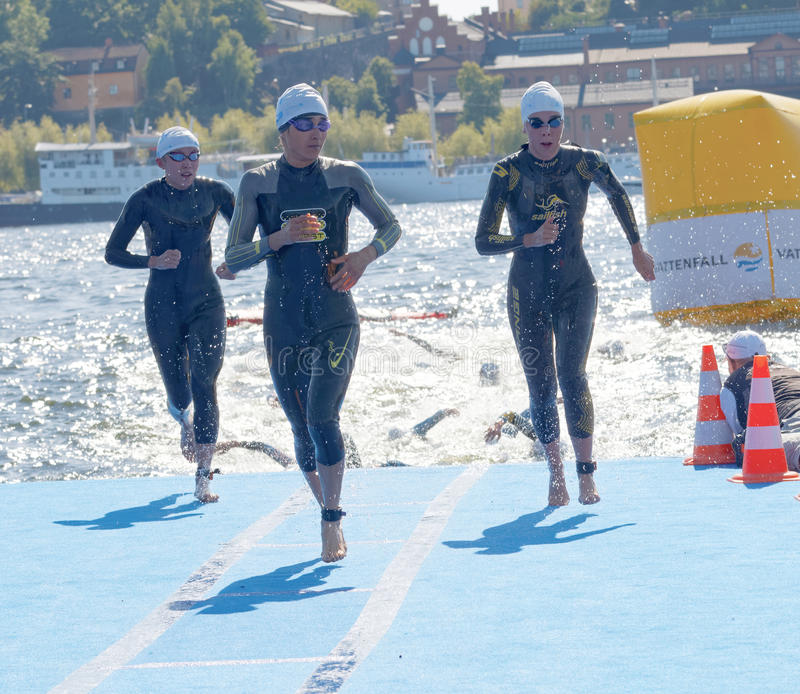 Πολλοί θηλυκός κολυμβητής που αναρριχείται επάνω από το νερό στοκ φωτογραφίες με δικαίωμα ελεύθερης χρήσης