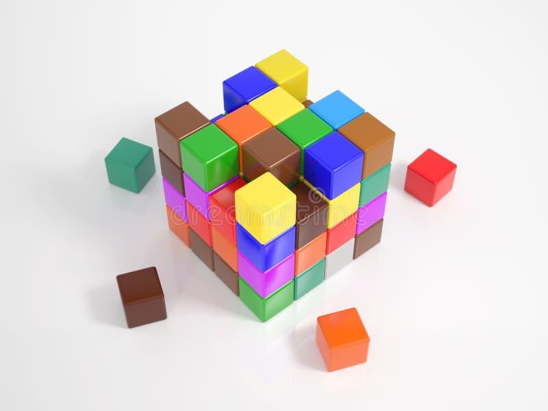 Πολλοί μικροί κύβοι που χτίζουν έναν μεγάλο κύβο διανυσματική απεικόνιση