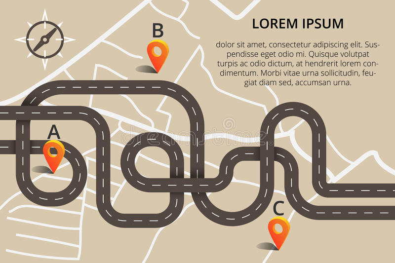 Πολλοί δρόμοι με πολλ'ες στροφές στο σύγχρονο επίπεδο σχέδιο Διανυσματικό ασβέστιο απεικόνισης διανυσματική απεικόνιση