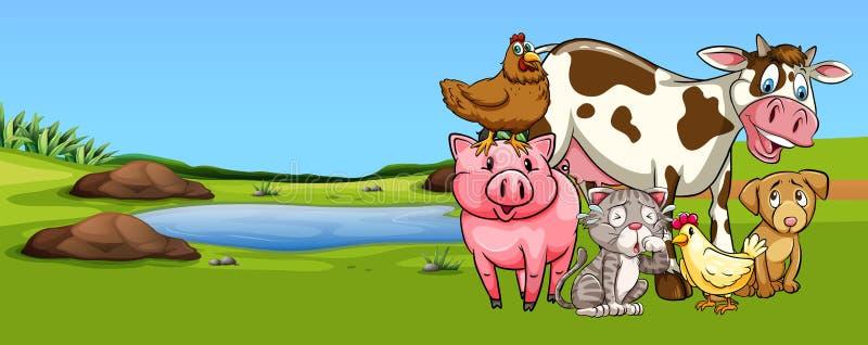 Πολλοί τύποι ζώων στην αυλή απεικόνιση αποθεμάτων