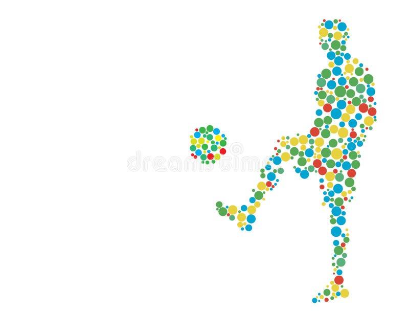 Ποδοσφαιριστής με τη σφαίρα διανυσματική απεικόνιση