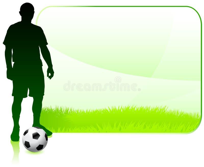 Ποδοσφαιριστής στο πράσινο πλαίσιο φύσης απεικόνιση αποθεμάτων