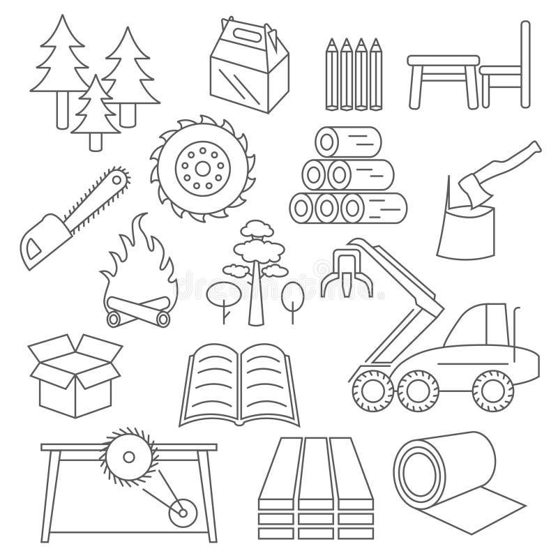 Πολτός, χαρτί και ξύλινο σύνολο εικονιδίων προϊόντων Το λεπτό σχέδιο γραμμών απομονώνει ελεύθερη απεικόνιση δικαιώματος