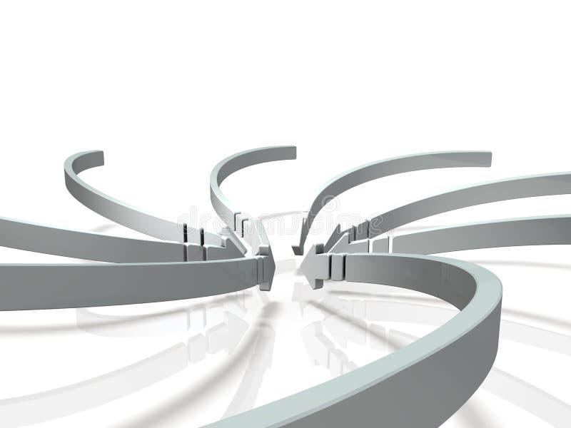 Πολυάριθμα βέλη που ρέουν στο κέντρο ελεύθερη απεικόνιση δικαιώματος
