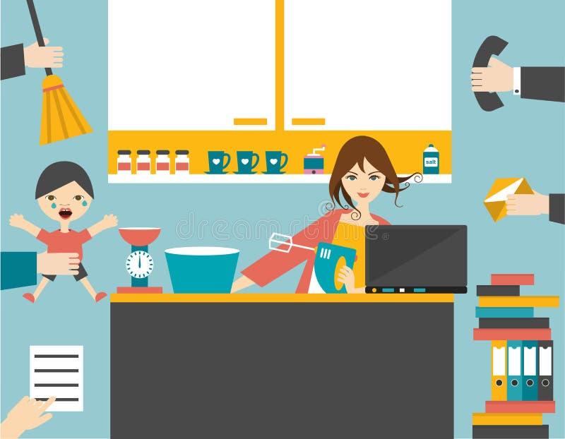 Πολυάσχολη γυναίκα multitask, μητέρα που διαχειρίζεται την εργασία της με το χαμόγελο απεικόνιση αποθεμάτων