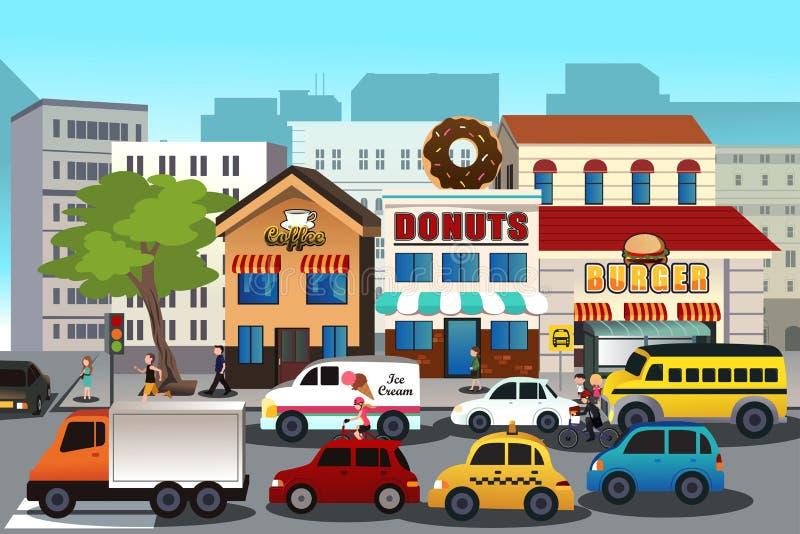 Πολυάσχολη πόλη το πρωί ελεύθερη απεικόνιση δικαιώματος