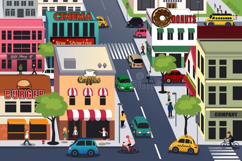 Πολυάσχολη πόλη το πρωί απεικόνιση αποθεμάτων