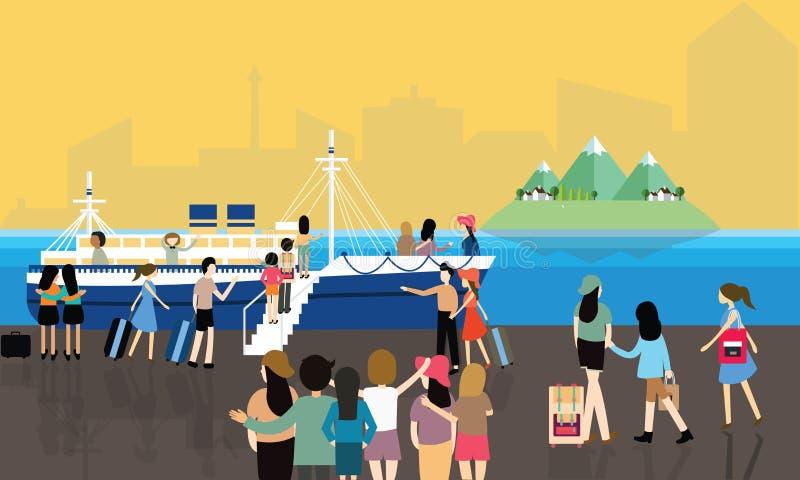 Πολυάσχολος επιβάτης ανθρώπων δραστηριοτήτων θαλασσίων λιμένων που εισάγει τη βάρκα στο ταξίδι κρουαζιέρας διανυσματική απεικόνιση