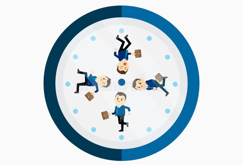 Πολυάσχολος επιχειρηματίας που τρέχει στο ρολόι διανυσματική απεικόνιση