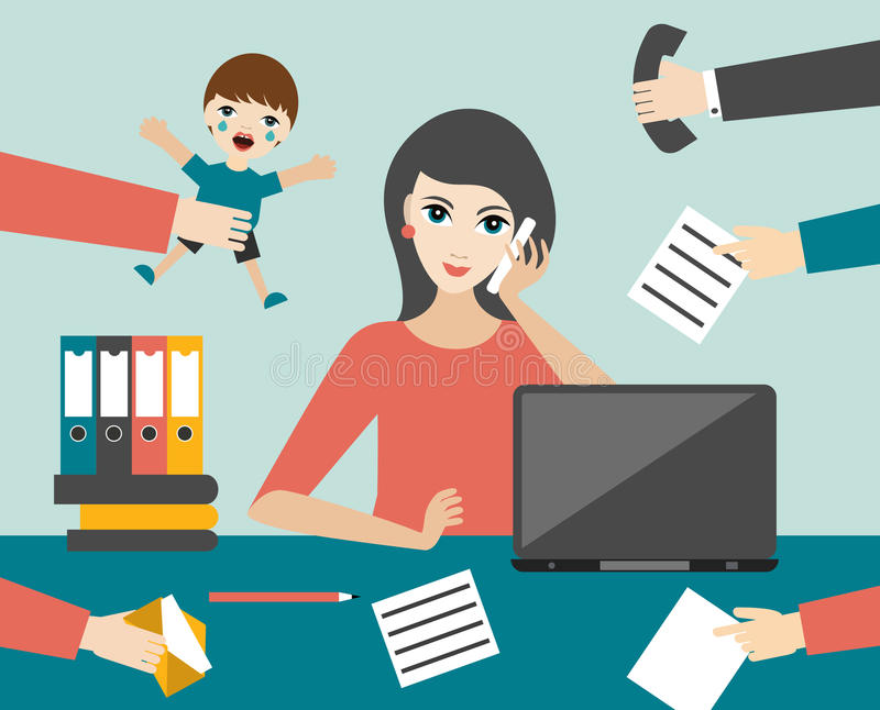 Πολυάσχολος πολλαπλών καθηκόντων υπάλληλος γυναικών στην αρχή Επίπεδο διάνυσμα διανυσματική απεικόνιση