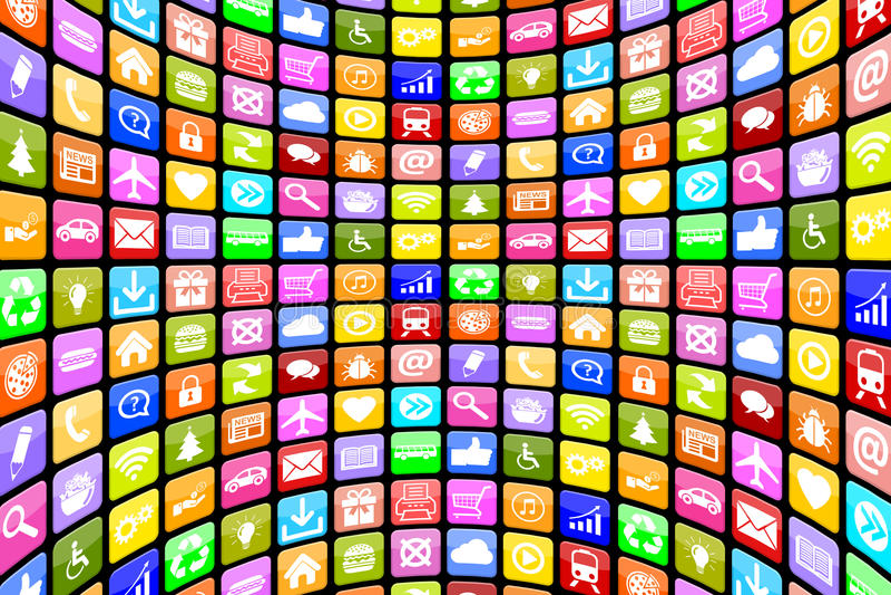 Πολυμέσα εικονιδίων εικονιδίων Apps App εφαρμογής για το κινητό ή έξυπνο π απεικόνιση αποθεμάτων