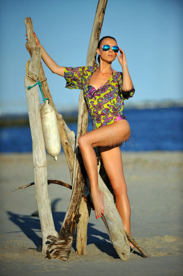 Πολυτελές πρότυπο brunette με τα μακριά πόδια που φορούν το ζωηρόχρωμο φόρεμα στοκ φωτογραφία με δικαίωμα ελεύθερης χρήσης