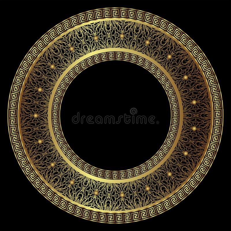 Πολυτελές στρογγυλό χρυσό πλαίσιο διανυσματική απεικόνιση