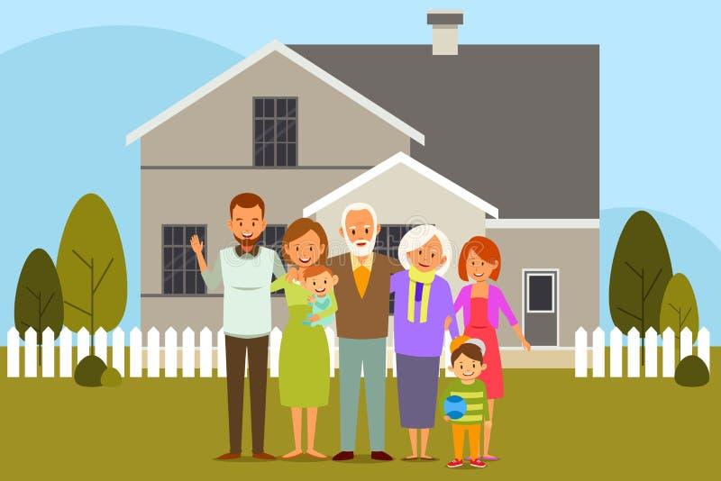 Πολυ οικογένεια παραγωγής μπροστά από ένα σπίτι ελεύθερη απεικόνιση δικαιώματος