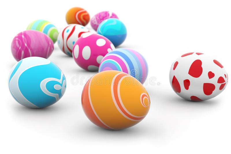 Πολυ χρωματισμένα αυγά Πάσχας απεικόνιση αποθεμάτων