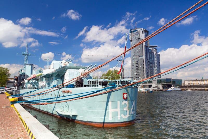 Πολωνικό σκάφος καταστροφέων στη θάλασσα της Βαλτικής στο Gdynia στοκ φωτογραφία
