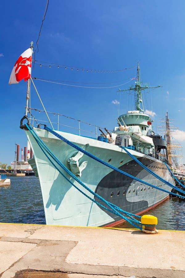 Πολωνικό σκάφος καταστροφέων στη θάλασσα της Βαλτικής στο Gdynia στοκ φωτογραφίες