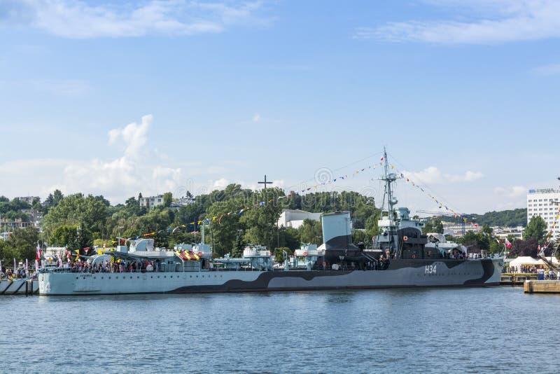 Πολωνικό σκάφος Gdynia μουσείων καταστροφέων ORP Blyskawica στοκ εικόνες