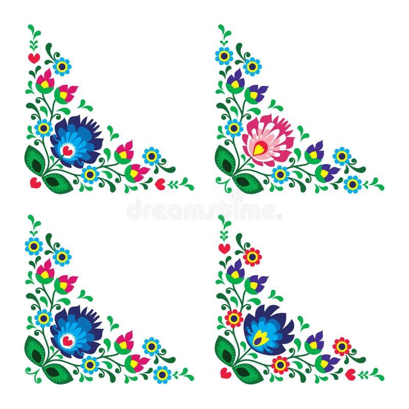 Πολωνικό floral λαϊκό σχέδιο συνόρων γωνιών διανυσματική απεικόνιση