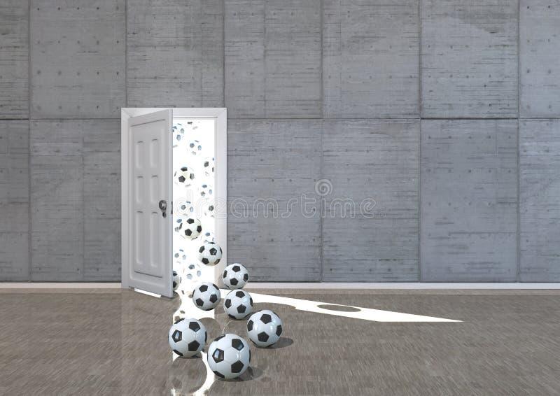 Ποδόσφαιρα στην πόρτα απεικόνιση αποθεμάτων