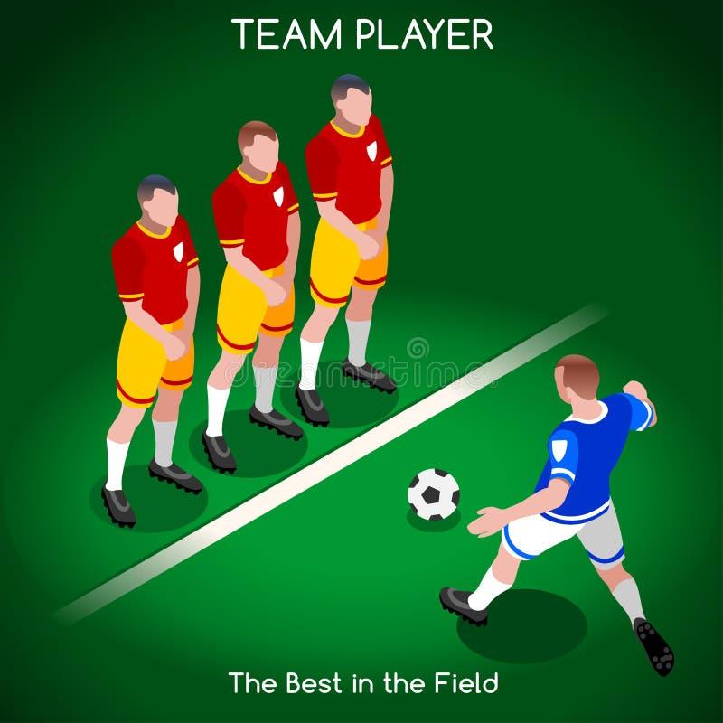 Ποδόσφαιρο 02 άνθρωποι Isometric διανυσματική απεικόνιση