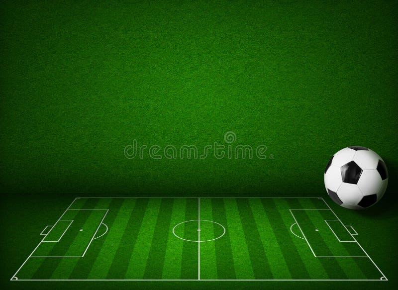 Ποδόσφαιρο ή αγωνιστικός χώρος ποδοσφαίρου με την πλάγια όψη σφαιρών διανυσματική απεικόνιση