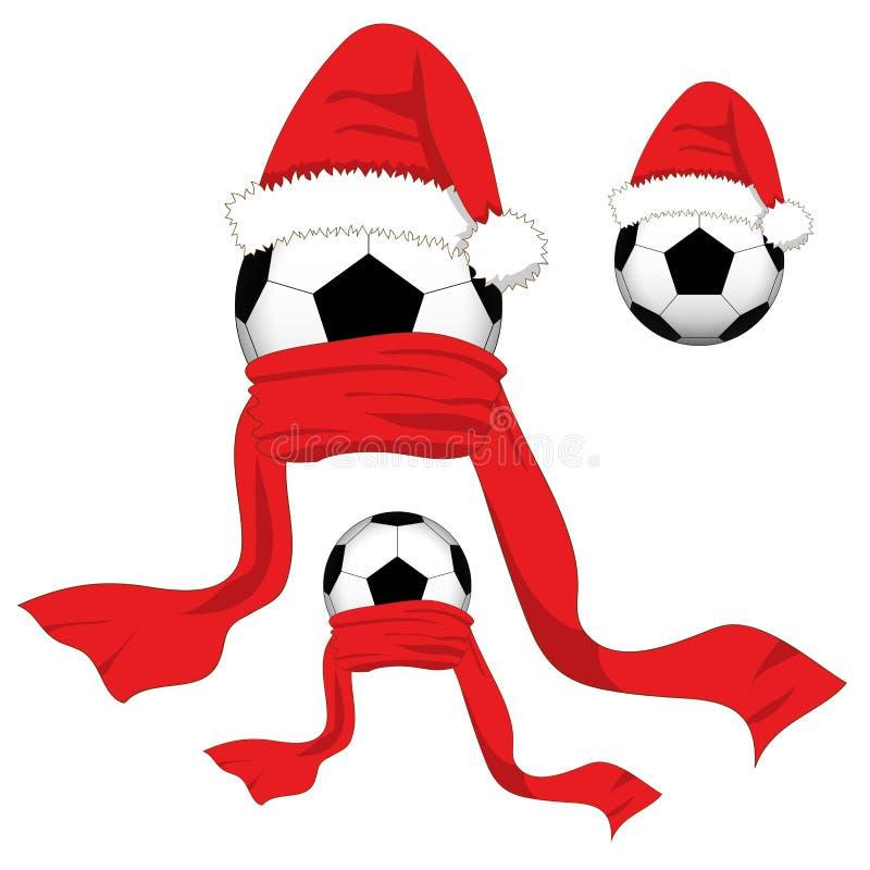 ποδόσφαιρο γυαλιού καψίματος σφαιρών aqua Σφαίρα ποδοσφαίρου με το καπέλο Santa και το κόκκινο μαντίλι Ημέρα των Χριστουγέννων επ ελεύθερη απεικόνιση δικαιώματος