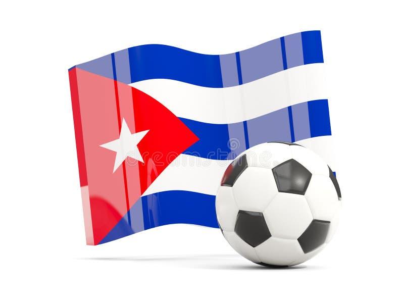 Ποδόσφαιρο με την κυματίζοντας σημαία της Κούβας που απομονώνεται στο λευκό ελεύθερη απεικόνιση δικαιώματος