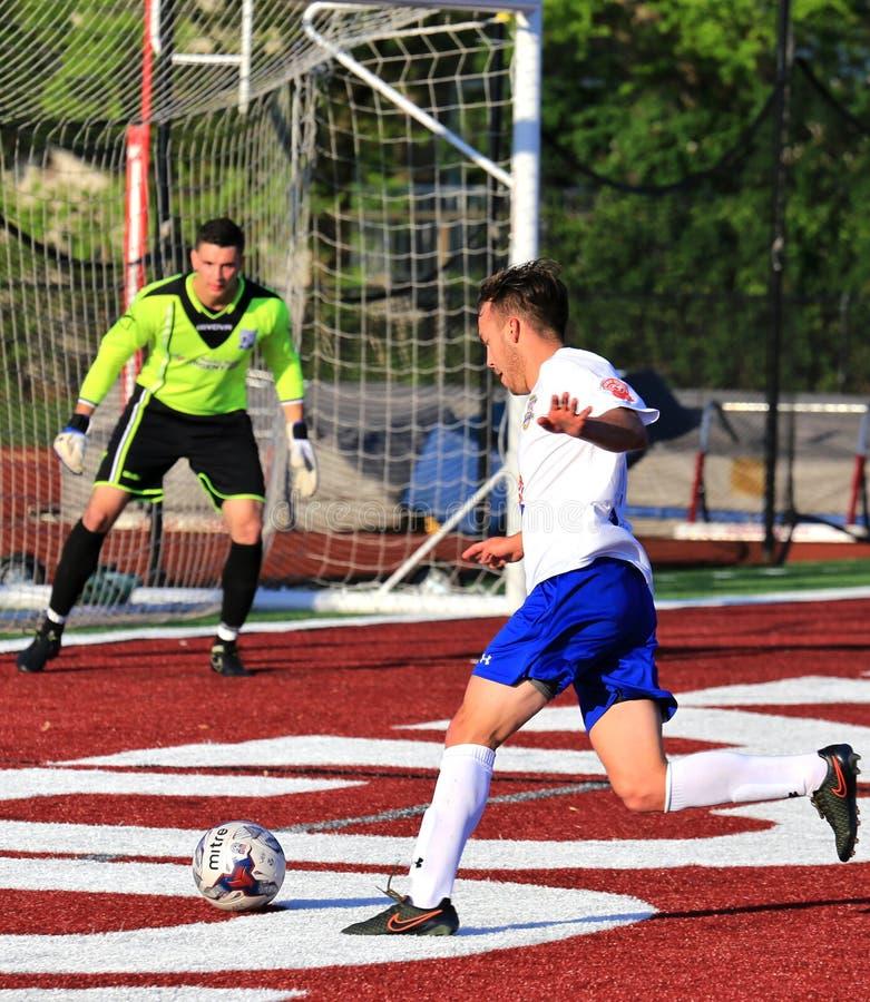 Ποδόσφαιρο που πυροβολείται στο στόχο στοκ εικόνες με δικαίωμα ελεύθερης χρήσης