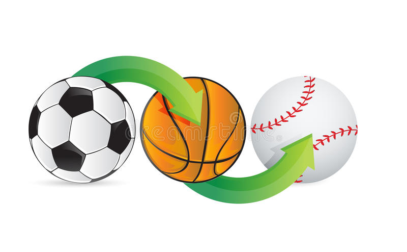 Ποδόσφαιρο, ποδόσφαιρο, καλάθι και μπέιζ-μπώλ αθλητικών σφαιρών διανυσματική απεικόνιση
