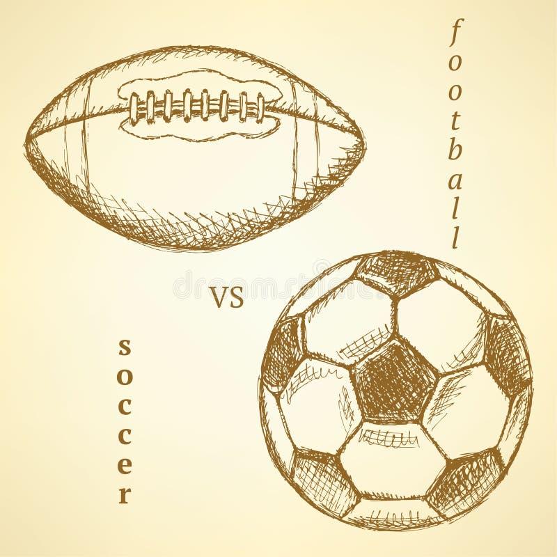 Ποδόσφαιρο σκίτσων εναντίον της σφαίρας αμερικανικού ποδοσφαίρου διανυσματική απεικόνιση