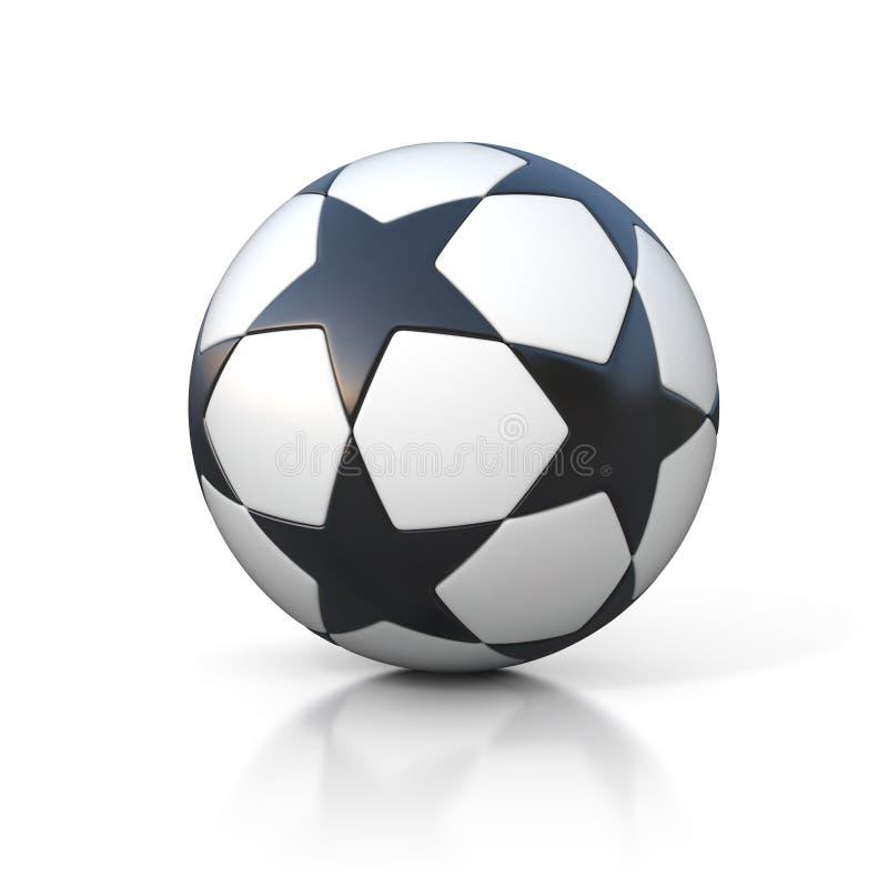 Ποδόσφαιρο - σφαίρα ποδοσφαίρου με το σχέδιο αστεριών στο λευκό ελεύθερη απεικόνιση δικαιώματος