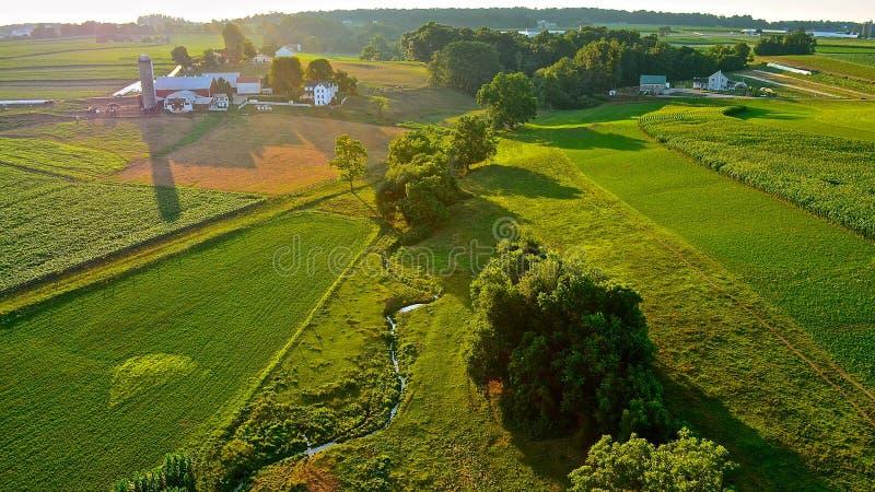 Πολύβλαστοι πράσινοι τομείς και αγροκτήματα στοκ φωτογραφία με δικαίωμα ελεύθερης χρήσης
