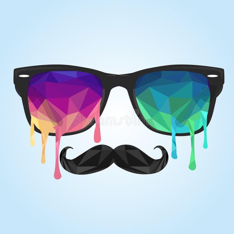 Πολύγωνο γυαλιού, mustache πολύγωνο διανυσματική απεικόνιση