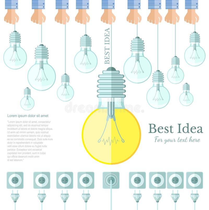 Πολύς λαμπτήρας ή lightbulb φως μακριά και μόνο ένα φως επάνω με το επίπεδο υπόβαθρο ιδέας βουλωμάτων και υποδοχών ελεύθερη απεικόνιση δικαιώματος