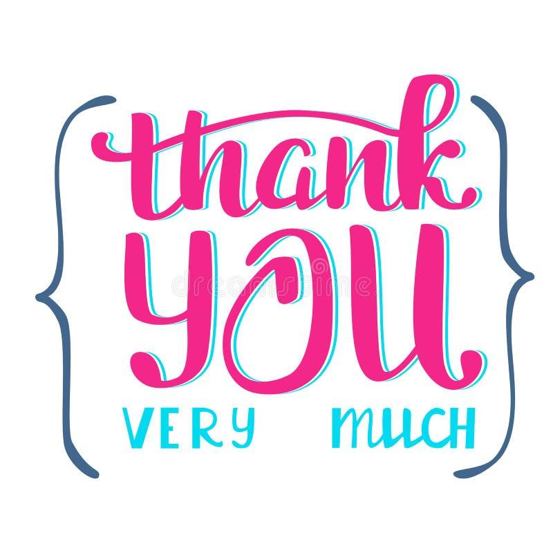 πολύς σας ευχαριστεί π&omicron Επιγραφή εγγραφής χεριών διανυσματική απεικόνιση