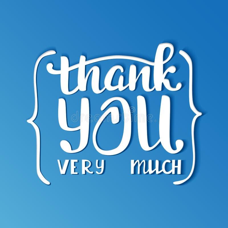 πολύς σας ευχαριστεί π&omicron Επιγραφή εγγραφής χεριών απεικόνιση αποθεμάτων